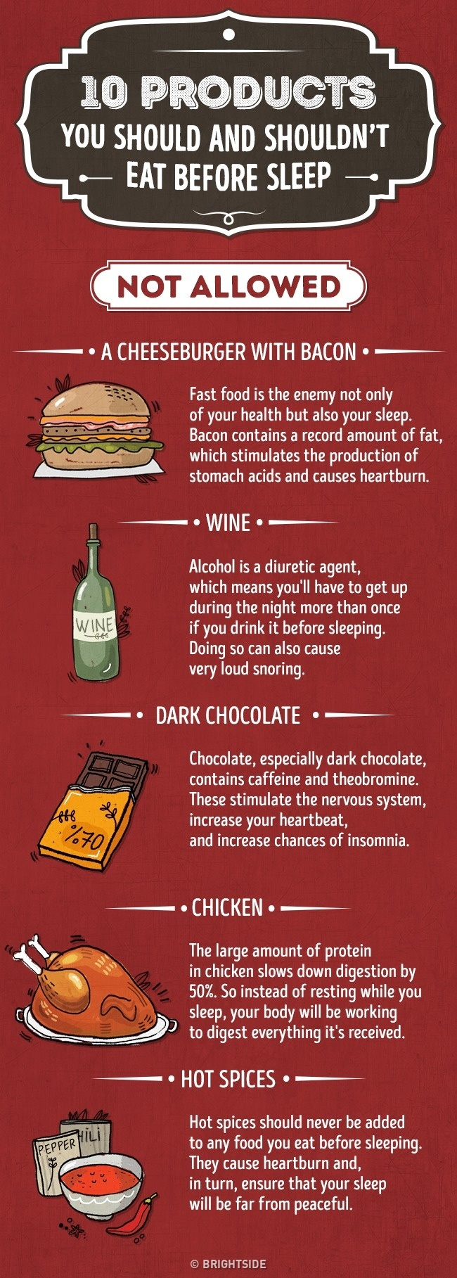 Food you should and should not eat before sleep